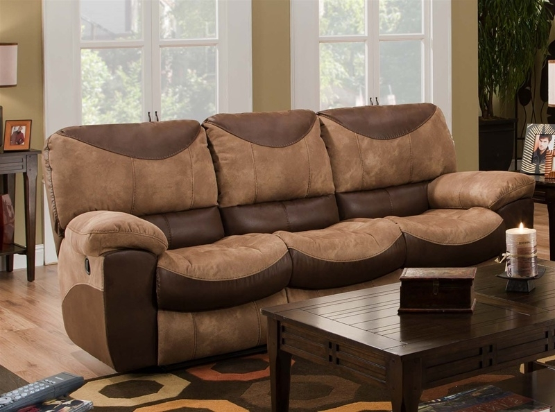 Two Tone Sofas Pertaining To Most Up To Date Reclining Sofa In Two Tone Chocolate And Saddle Fabric (View 8 of 10)