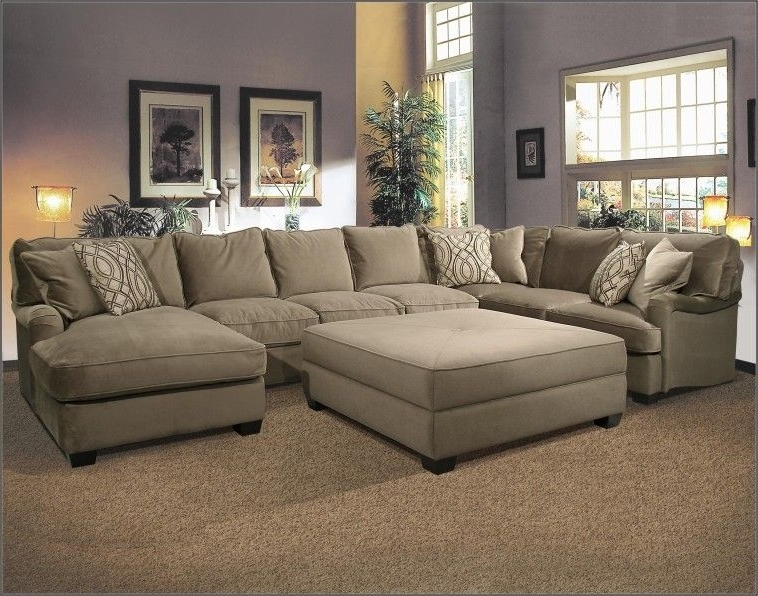 U Shaped Fabric Sectional Sofa With Large Ottoman On Super Elegant With Latest Sectional Couches With Large Ottoman (View 8 of 10)