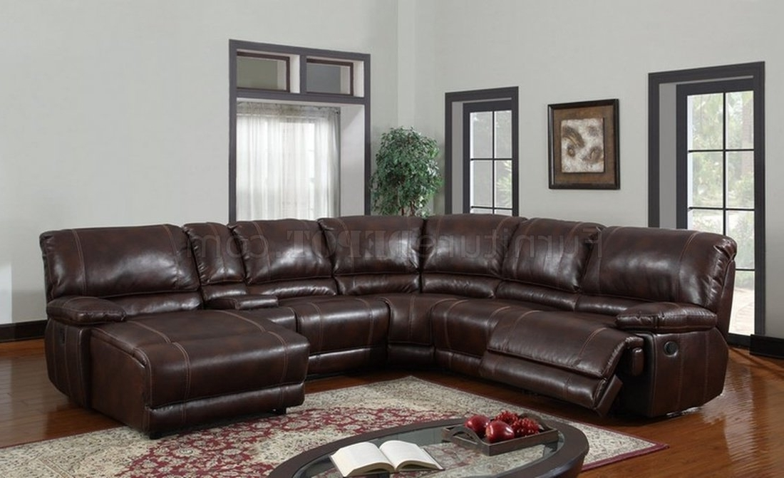 U1953 6Pc Reclining Sectional Sofa In Brown Bonded Leather With Regard To Fashionable High End Leather Sectional Sofas (View 8 of 10)