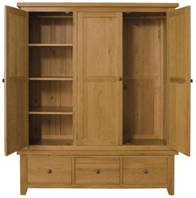 Vancouver Oak Triple Wardrobe With Most Recently Released Oak Wardrobes With Drawers And Shelves (View 8 of 15)