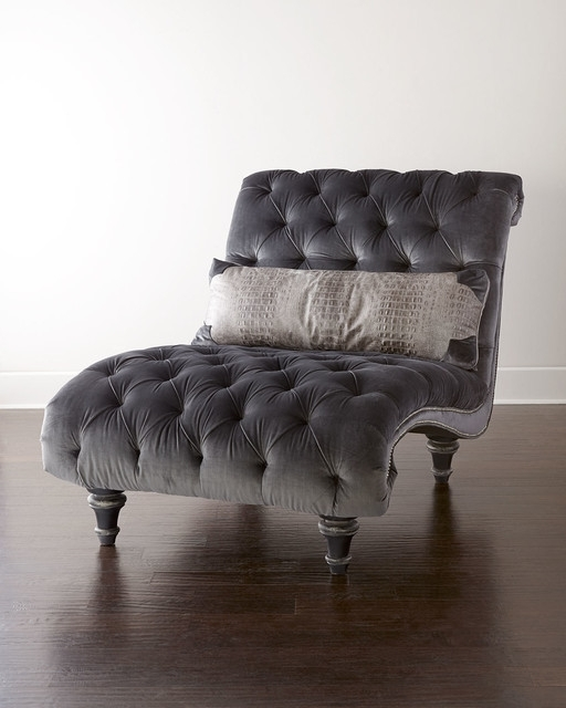 Velvet Chaise Lounge Chairs With Regard To Most Up To Date Great Grey Chaise Lounge Contemporary Tufted Chaise Lounge Chairs (View 13 of 15)