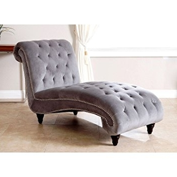 Velvet Chaises For Latest Amazon: Tiffany Grey Plush Velvet Chaise – (View 2 of 15)