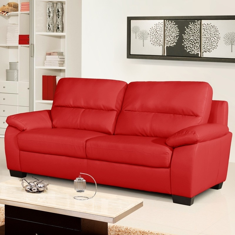 Vibrant Red Leather Sofa Collection Pertaining To Widely Used Red Leather Couches (Gallery 2 of 10)