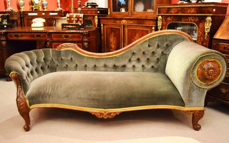 Victorian Chaise Lounge Chairs Pertaining To Fashionable Antique Victorian French Walnut Chaise Longue C.1860 (Gallery 7 of 15)