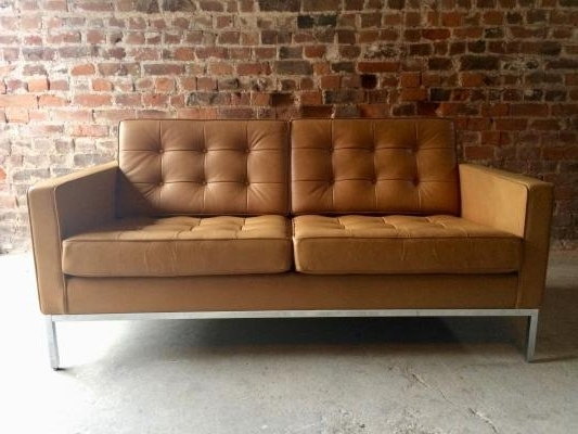 Vintage 2 Seater Leather Sofaflorence Knoll For Knoll For Sale With Regard To Most Current Florence Knoll Leather Sofas (Gallery 10 of 10)
