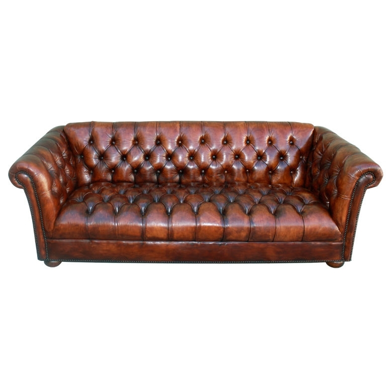 Vintage Leather Tufted Chesterfield Style Sofa C (View 9 of 10)