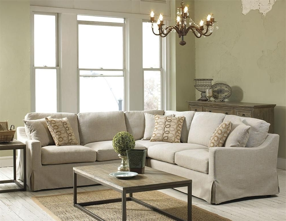 Virginia Sectional Sofas Pertaining To Most Popular Belgian Linen Slipcover Look Sectional – Belfort Furniture – Sofa (Gallery 4 of 10)