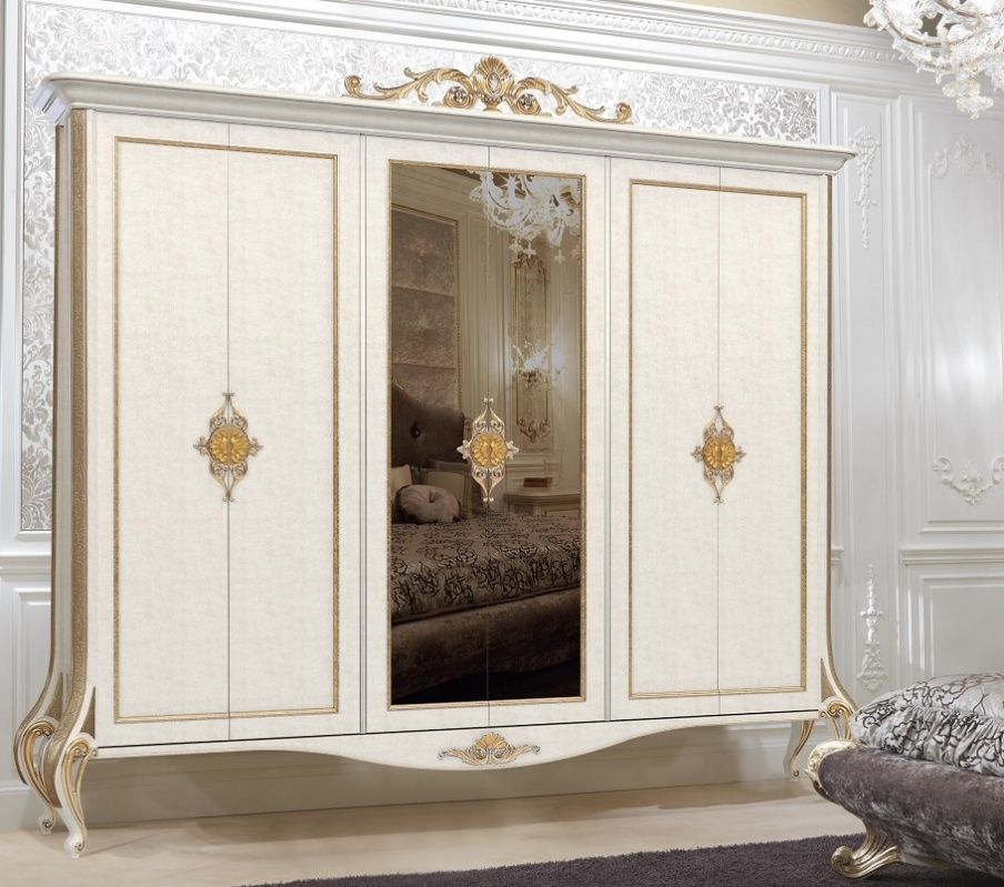 Wardrobe Wood In Ivory With Gilded Baroque Carvings, Turri Intended For Recent Baroque Wardrobes (View 4 of 15)