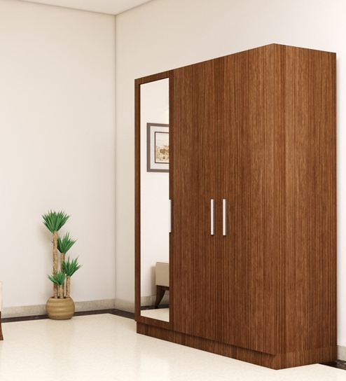 Wardrobes 3 Door With Mirror With Regard To Most Popular 3 Doors Wardrobe With Mirror In Viking Teak Finish (View 10 of 15)