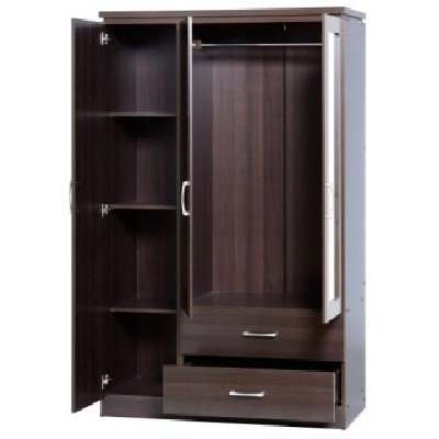 Wardrobes 3 Door With Mirror With Well Known Carlo 3 Door Wardrobe In Walnut With 2 Drawers And Mirrors (View 11 of 15)