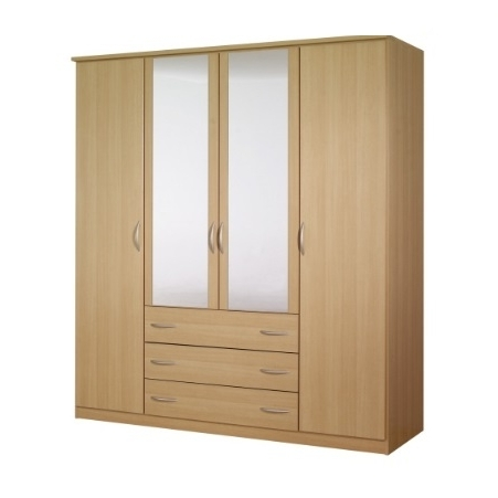 Wardrobes 4 Doors Regarding Famous Standing 4 Doors 3 Drawers Wardrobe Hpd440 – Free Standing (View 11 of 15)