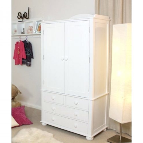 Wardrobes ~ Double Wardrobe With Drawers Baumhaus Nutkin White For Fashionable Childrens Tallboy Wardrobes (View 13 of 15)