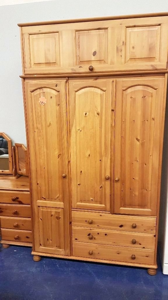 Wardrobes ~ Steens Pine Wardrobe With 3 Doors3 Drawers 2 Door For Well Known Pine Wardrobes With Drawers And Shelves (View 14 of 15)