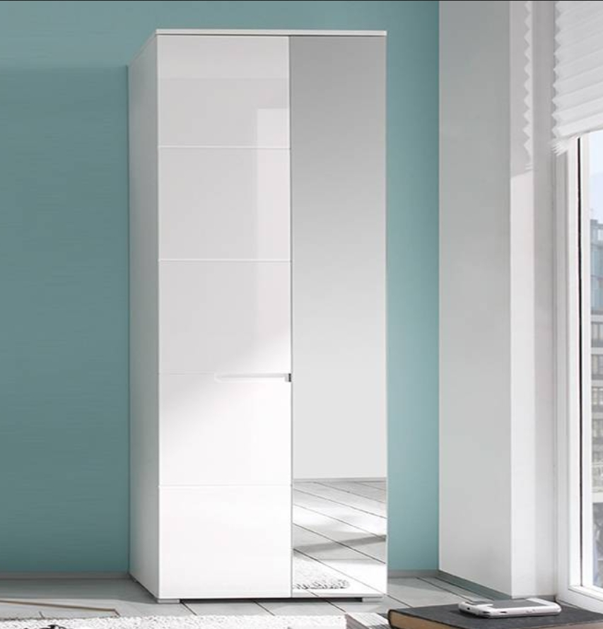 Wardrobes White Gloss Pertaining To Recent Santino White Gloss Slim Wardrobe With Mirrored Door – S22 – Amos (View 12 of 15)