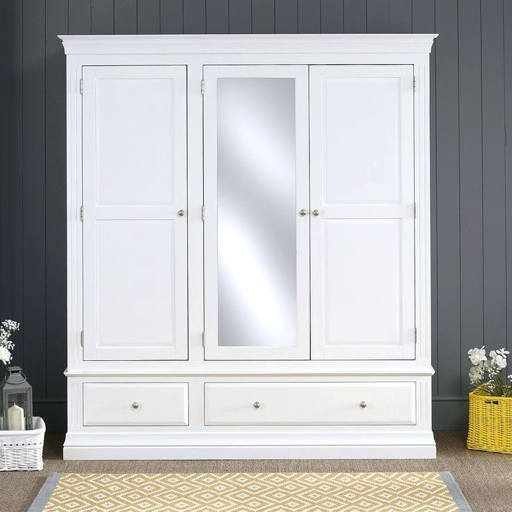Wardrobes ~ White Triple Wardrobe Sale Georgian White Painted 3 Inside Well Known White Painted Wardrobes (View 11 of 15)