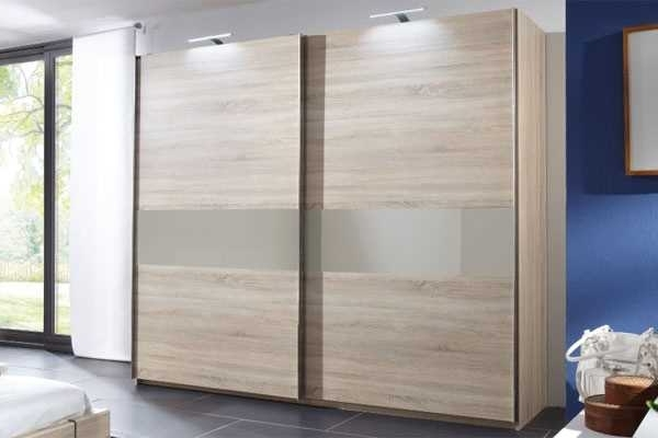 Wardrobes With 2 Sliding Doors With Newest Crowther Oak & Cappuccino Glass 2 Sliding Door Wardrobe – The (View 12 of 15)