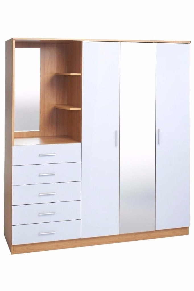 Wardrobes With Mirror And Drawers Intended For Trendy Brand New Oak / High Gloss White Combi Unit 3 Door Wardrobe Mirror (View 14 of 15)