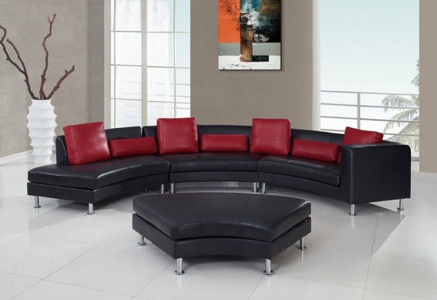 Well Known 25 Contemporary Curved And Round Sectional Sofas Inside Red Leather Sectional Sofas With Ottoman (View 8 of 10)
