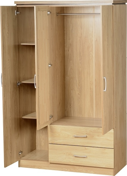 Well Known 3 Door 2 Drawer Mirrored Wardrobe – Oak In Oak 3 Door Wardrobes (View 14 of 15)