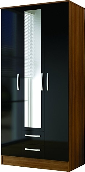 Well Known 3 Door Black Gloss Wardrobes In Birlea Lynx 3 Door 2 Drawer Wardrobe With Mirror – High Gloss (View 14 of 15)