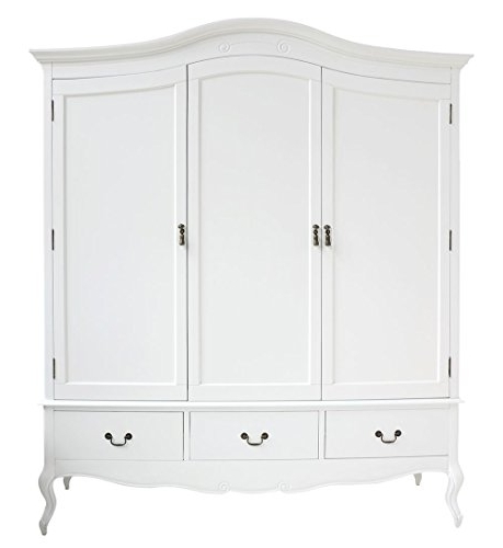 Well Known 3 Door White Wardrobes With Juliette Shabby Chic White Triple Wardrobe With Hanging Rails (View 11 of 15)