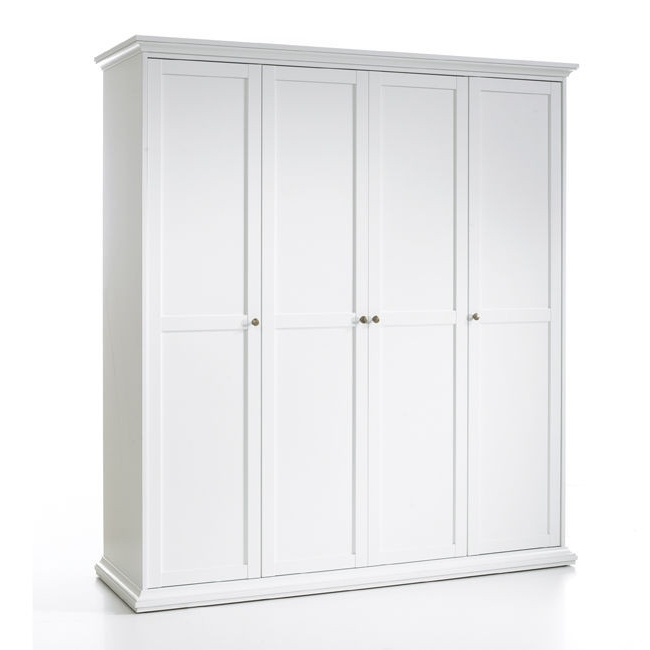 Well Known 4 Door Wardrobe Paris Throughout 4 Door White Wardrobes (View 14 of 15)