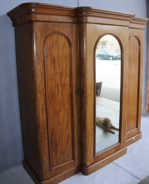 Well Known A Victorian Flame Mahogany Breakfront Wardrobe (View 14 of 15)