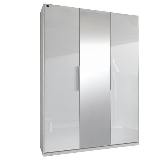 Well Known Add On D White Gloss Wardrobe With 2 Doors 1 Mirrors 20493 Inside White Gloss Wardrobes (View 9 of 15)
