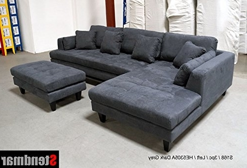 Well Known Amazon: 3pc Euro Design Dark Gray Microfiber Sectional Sofa Inside Sectional Sofas At Amazon (View 7 of 10)