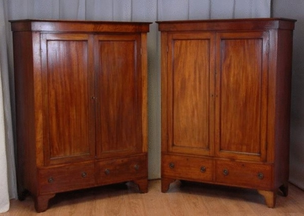 Well Known Antique Wardrobes Inside Pair Of Victorian Mahogany Double Antique Wardrobes (C (View 15 of 15)