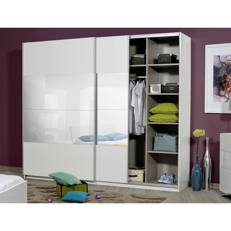 Well Known Black Gloss Mirror Wardrobes Within Optimus Large White Gloss Wardrobe With Sliding Doors And Mirror (Gallery 12 of 15)