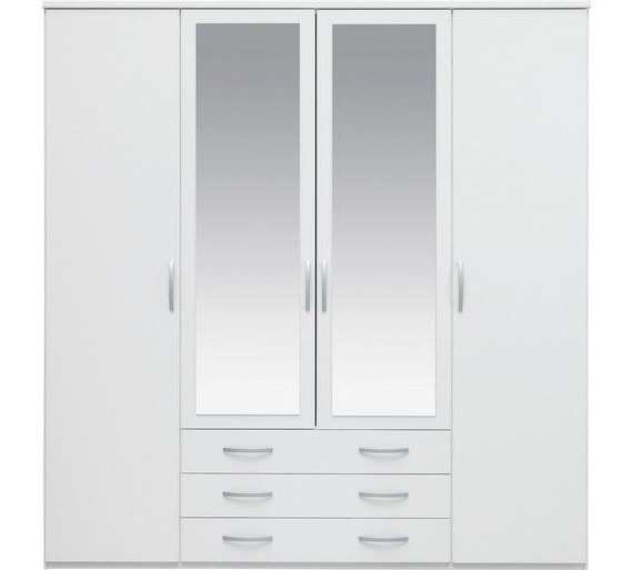 Well Known Buy Collection New Hallingford 4 Dr 3 Drw Mirror Wardrobe White At Intended For Cheap Wardrobes Sets (View 13 of 15)