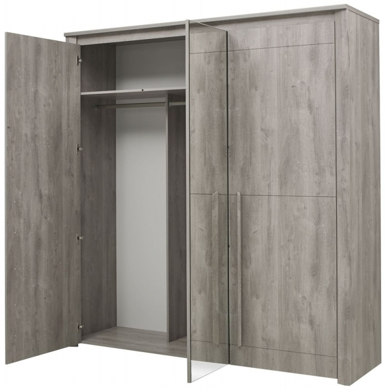 Well Known Buy Gami Eden Grey Oak Wardrobe – 3 Door Online – Cfs Uk In Grey Wardrobes (View 12 of 15)