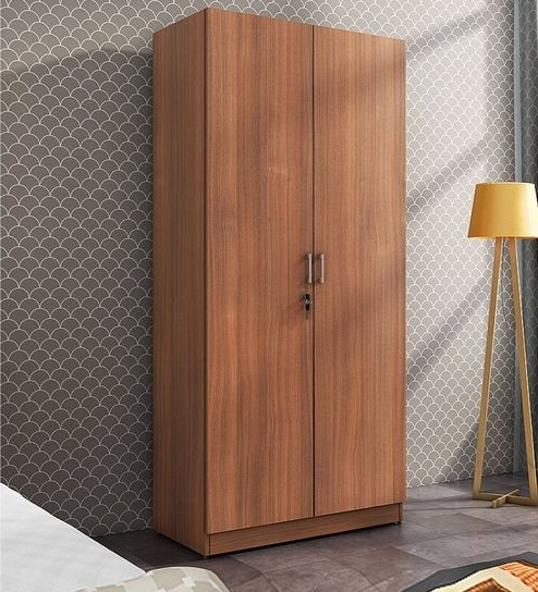 Well Known Buy Kosmo Optima Two Door Wardrobe In Walnut Finishspacewood Pertaining To Walnut Wardrobes (View 15 of 15)