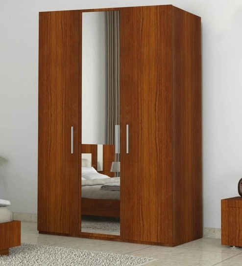 Well Known Buy Three Door Wardrobe With Mirror In Bird Cherry Finish In Mdf For Three Door Wardrobes With Mirror (View 14 of 15)