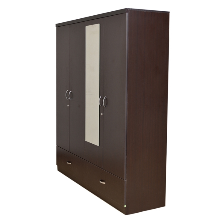 Well Known Buy Utsav Four Door Wardrobe With Mirror In Wenge Finish Online In Pertaining To Wardrobes With Mirror And Drawers (View 15 of 15)