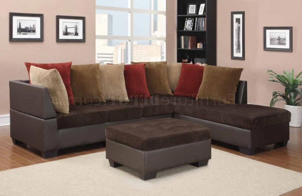 Well Known Chocolate Sectional Sofas With Regard To U88018 Sectional Sofa In Chocolate Corduroy Fabricglobal (View 8 of 10)