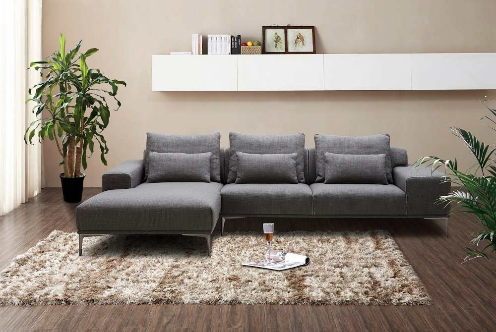 Well Known Dark Grey Fabric Sectional Sofa Nj Christopher (View 4 of 10)