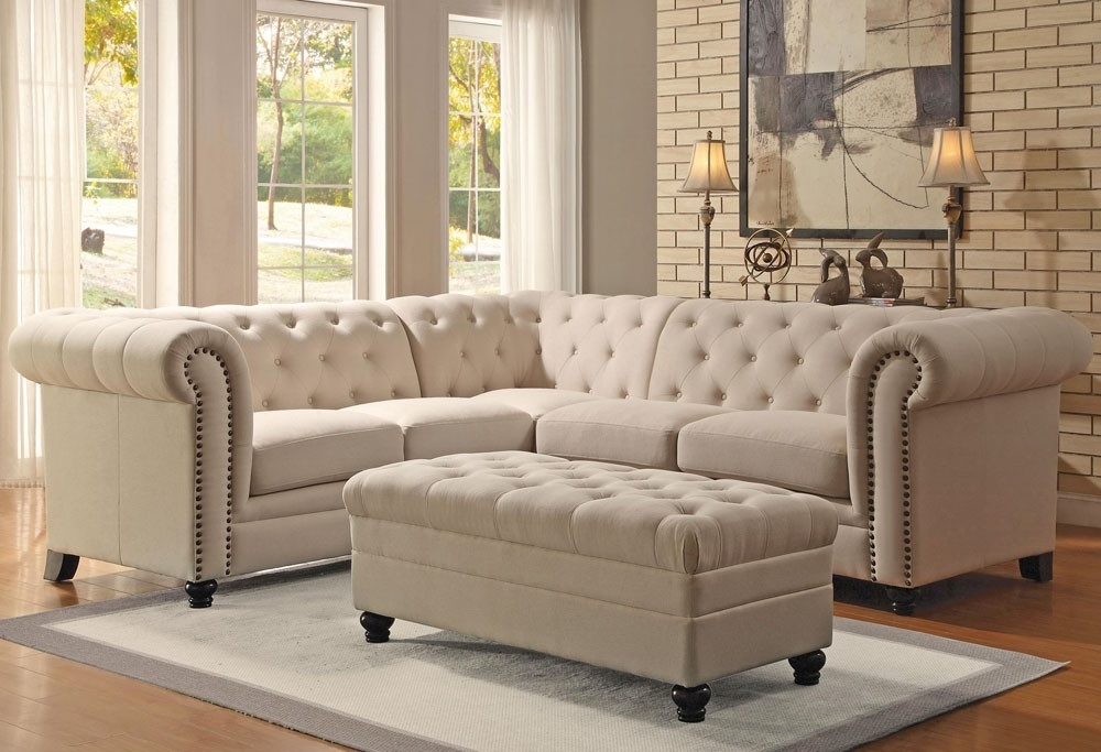 Well Known Fabric Sectional Sofas Intended For Linen Fabric Sectional Sofa (View 9 of 10)