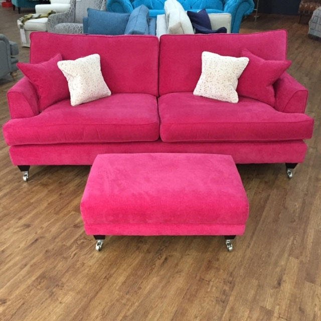 Well Known Florence Large Sofa And Footstool In Vogue Hot Pink Http://www For Florence Large Sofas (View 2 of 10)