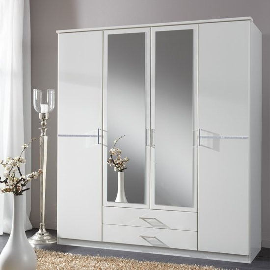Well Known Florence Mirrored Wardrobe In White With Diamanté And 4 In 4 Door Mirrored Wardrobes (View 6 of 15)