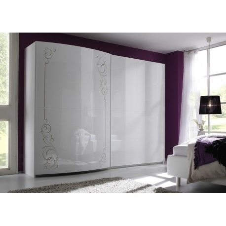 Well Known Glossy Wardrobes With Sibilla High Gloss Wardrobe With Curved Doors – Wardrobes – Sena (View 6 of 15)