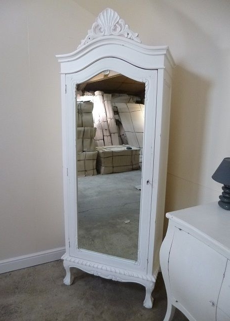 Well Known Handmade Single French Armoire In White (View 9 of 15)