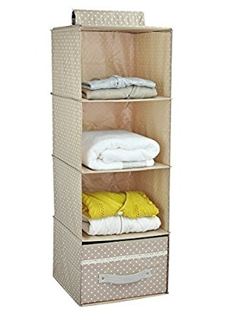 Well Known Hanging Wardrobes Shelves Throughout Collapsible Hanging Wardrobe Storage Shelves, Shoe Rack, 4 Tier (View 14 of 15)