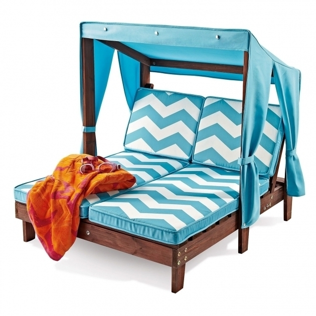 Well Known Kidkraft Double Chaise Lounges Intended For Kidkraft Double Chaise Lounge Outdoor Furniture Blue Stripe (View 6 of 15)