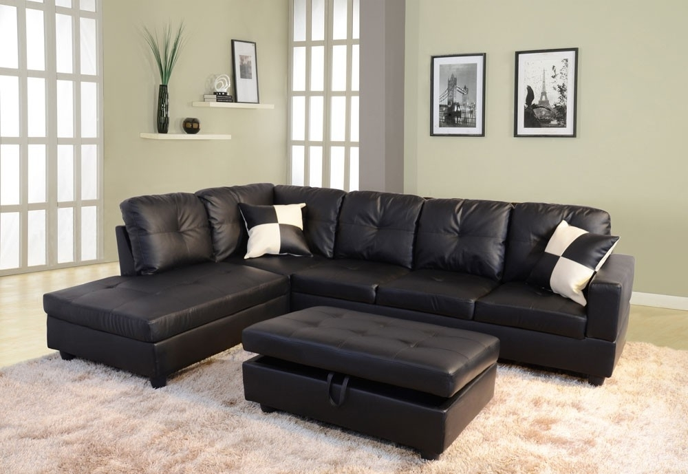 Well Known Leather Sectionals With Chaise And Ottoman Regarding Low Profile Black Faux Leather Sectional Sofa W/ Right Arm Chaise (View 10 of 10)