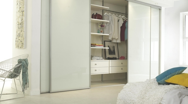 Well Known Linear White Gloss Sliding Wardrobe Doors – Contemporary – Bedroom Intended For White Gloss Sliding Wardrobes (View 12 of 15)