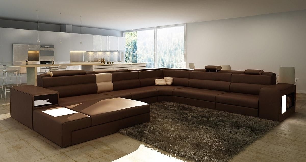 Well Known Long Modern Sofas Inside Brown Large Sectional — Awesome Homes : Beautiful Living Room With (View 9 of 10)