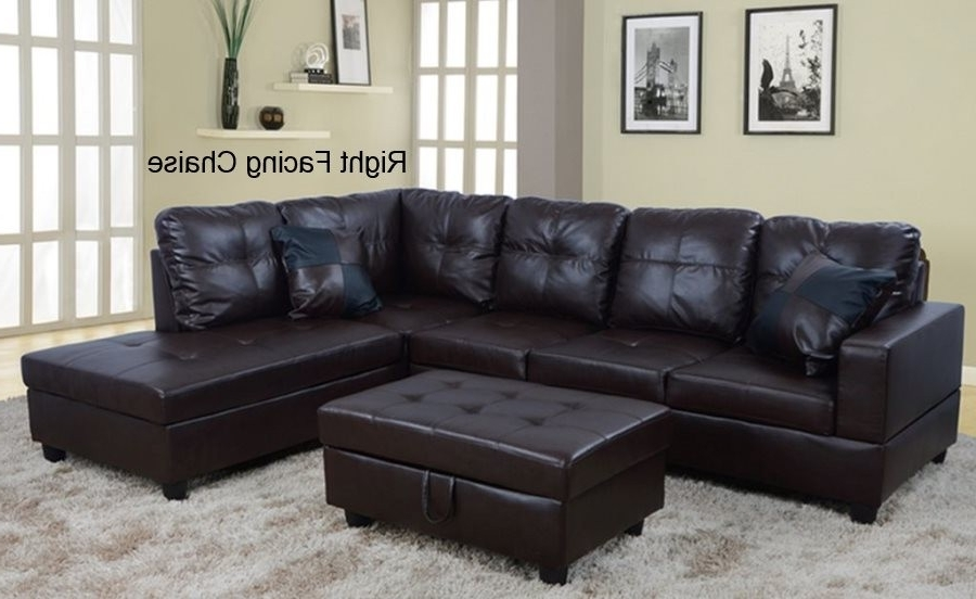 Well Known Low Profile Espresso Faux Leather Sectional Sofa W/ Right Arm With Faux Leather Sectional Sofas (View 9 of 10)