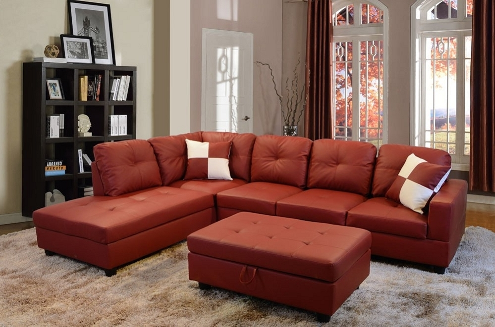 Well Known Low Profile Red Faux Leather Sectional Sofa W/ Right Arm Chaise With Regard To Red Faux Leather Sectionals (View 5 of 10)